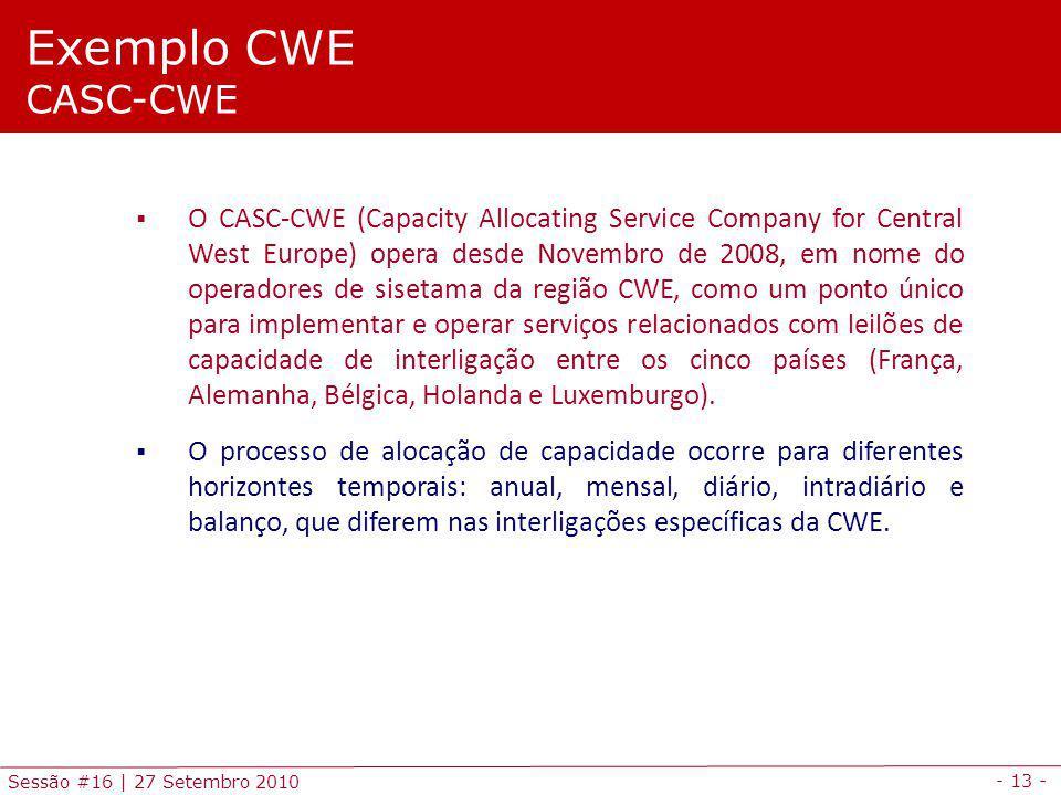 - 13 - Sessão #16 | 27 Setembro 2010 O CASC-CWE (Capacity Allocating Service Company for Central West Europe) opera desde Novembro de 2008, em nome do