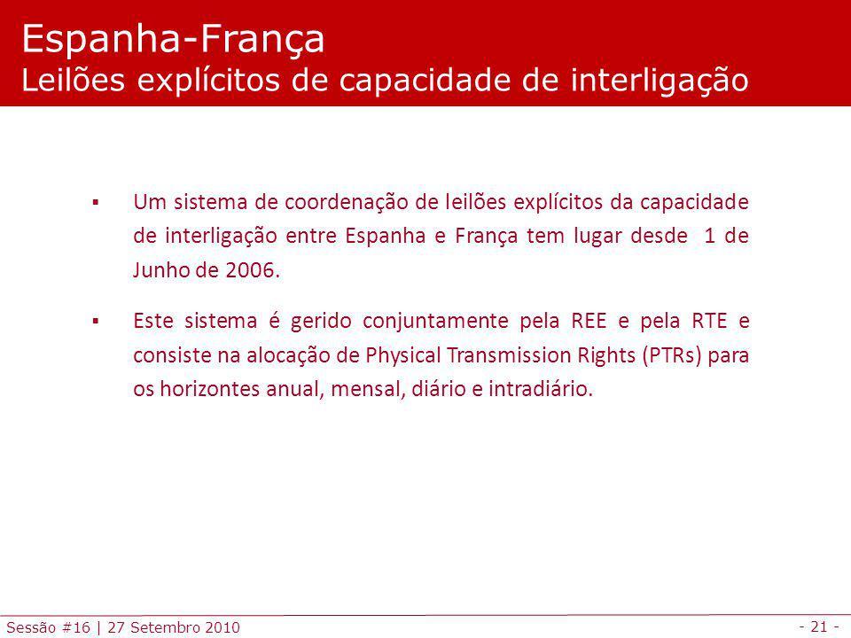 - 21 - Sessão #16 | 27 Setembro 2010 Espanha-França Leilões explícitos de capacidade de interligação Um sistema de coordenação de leilões explícitos d