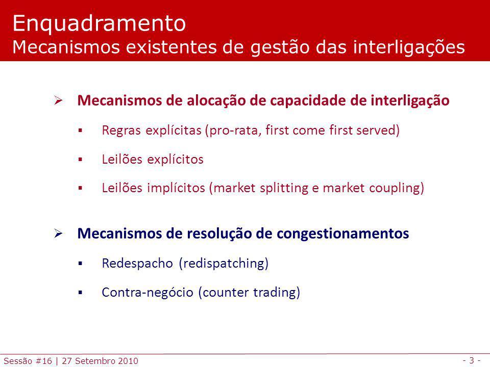 - 3 - Sessão #16 | 27 Setembro 2010 Mecanismos de alocação de capacidade de interligação Regras explícitas (pro-rata, first come first served) Leilões