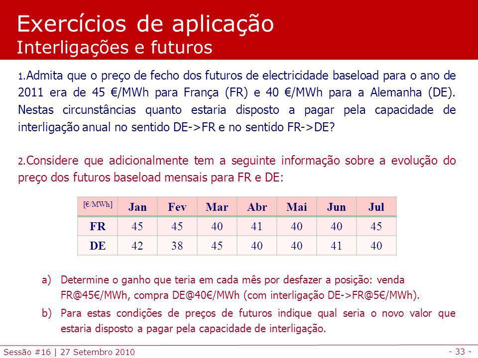 - 33 - Sessão #16 | 27 Setembro 2010 Exercícios de aplicação Interligações e futuros 1. Admita que o preço de fecho dos futuros de electricidade basel