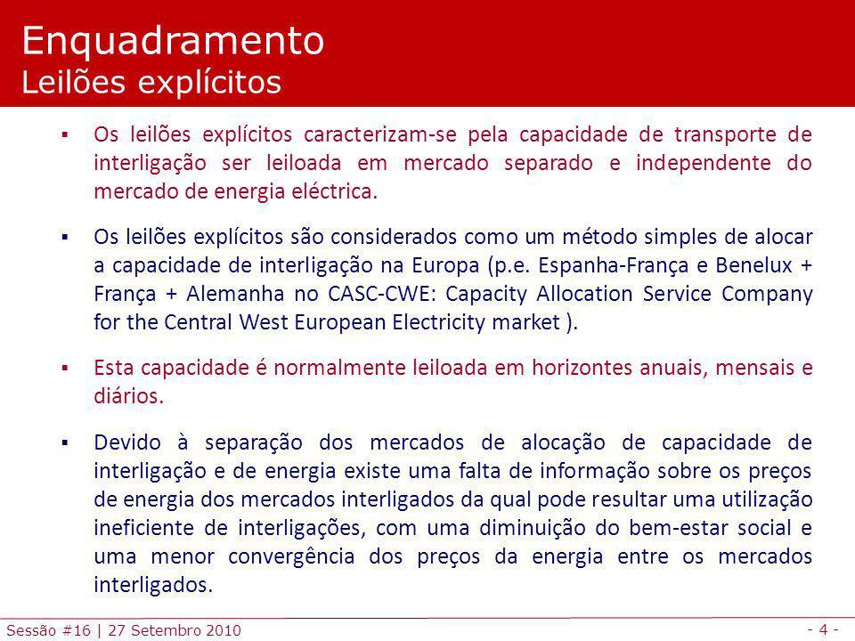 - 4 - Sessão #16 | 27 Setembro 2010 Enquadramento Leilões explícitos Os leilões explícitos caracterizam-se pela capacidade de transporte de interligaç