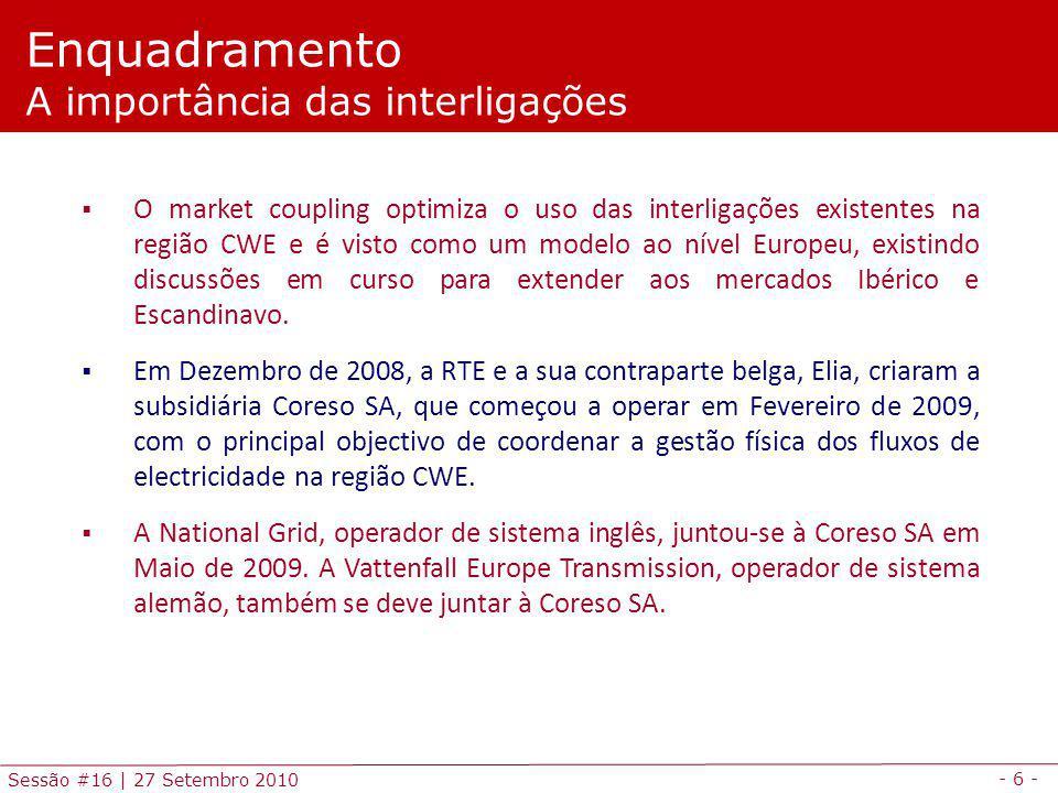 - 6 - Sessão #16 | 27 Setembro 2010 O market coupling optimiza o uso das interligações existentes na região CWE e é visto como um modelo ao nível Euro
