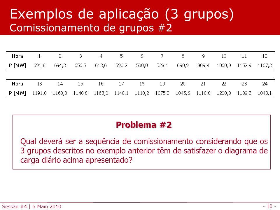 - 10 - Sessão #4 | 6 Maio 2010 Exemplos de aplicação (3 grupos) Comissionamento de grupos #2 Problema #2 Qual deverá ser a sequência de comissionament
