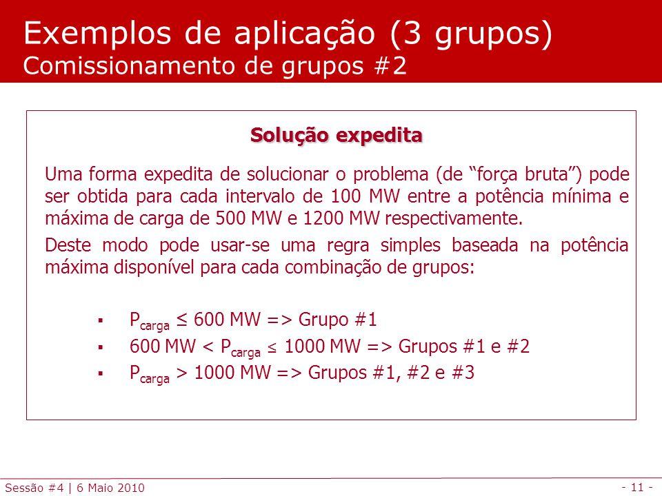 - 11 - Sessão #4 | 6 Maio 2010 Exemplos de aplicação (3 grupos) Comissionamento de grupos #2 Solução expedita Uma forma expedita de solucionar o probl