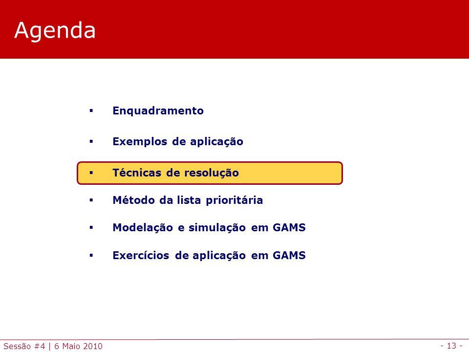 - 13 - Sessão #4 | 6 Maio 2010 Agenda Enquadramento Exemplos de aplicação Técnicas de resolução Método da lista prioritária Modelação e simulação em G