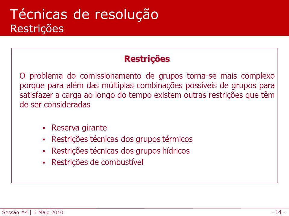 - 14 - Sessão #4 | 6 Maio 2010 Técnicas de resolução Restrições Restrições O problema do comissionamento de grupos torna-se mais complexo porque para
