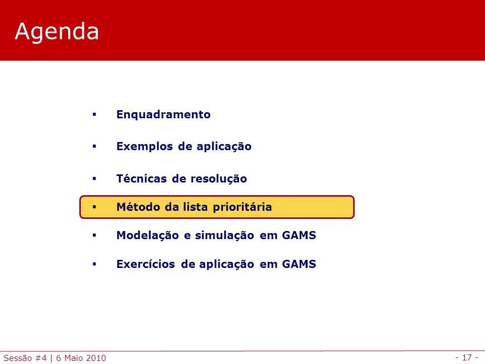 - 17 - Sessão #4 | 6 Maio 2010 Agenda Enquadramento Exemplos de aplicação Técnicas de resolução Método da lista prioritária Modelação e simulação em G