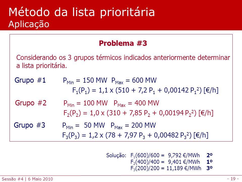 - 19 - Sessão #4 | 6 Maio 2010 Método da lista prioritária Aplicação Problema #3 Considerando os 3 grupos térmicos indicados anteriormente determinar