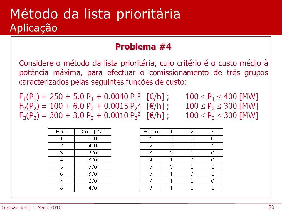 - 20 - Sessão #4 | 6 Maio 2010 Método da lista prioritária Aplicação Problema #4 Considere o método da lista prioritária, cujo critério é o custo médi