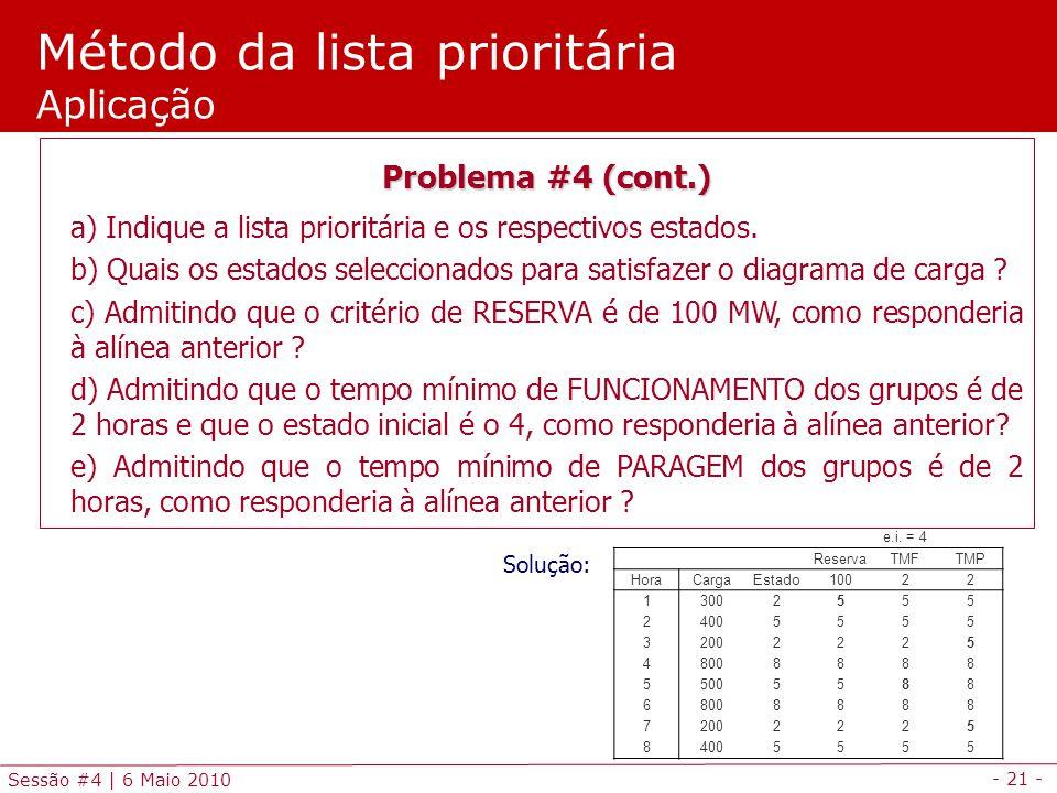 - 21 - Sessão #4 | 6 Maio 2010 Método da lista prioritária Aplicação Problema #4 (cont.) a) Indique a lista prioritária e os respectivos estados. b) Q