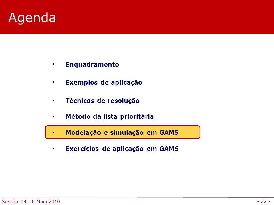 - 22 - Sessão #4 | 6 Maio 2010 Agenda Enquadramento Exemplos de aplicação Técnicas de resolução Método da lista prioritária Modelação e simulação em G