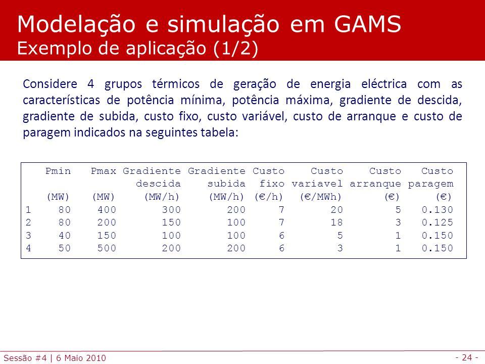 - 24 - Sessão #4 | 6 Maio 2010 Pmin Pmax Gradiente Gradiente Custo Custo Custo Custo descida subida fixo variavel arranque paragem (MW) (MW) (MW/h) (M