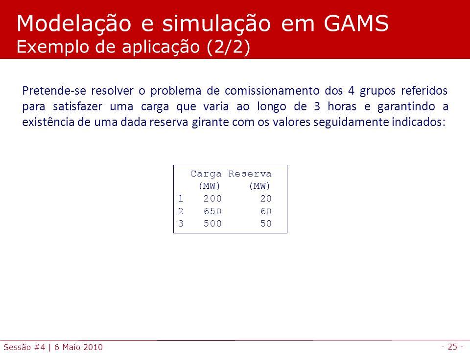 - 25 - Sessão #4 | 6 Maio 2010 Pretende-se resolver o problema de comissionamento dos 4 grupos referidos para satisfazer uma carga que varia ao longo