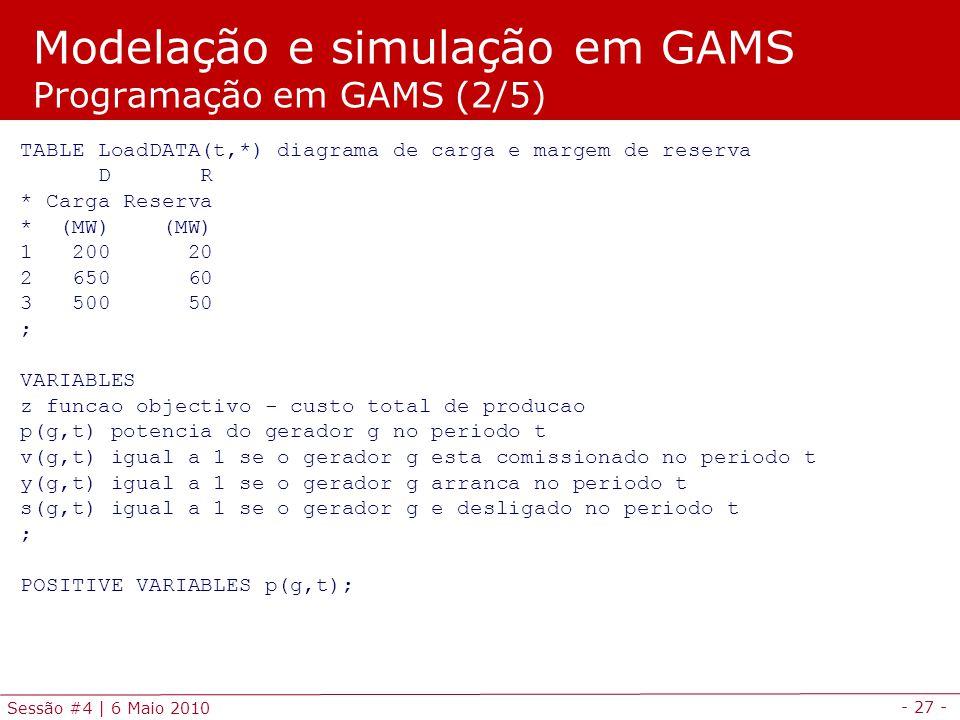 - 27 - Sessão #4 | 6 Maio 2010 TABLE LoadDATA(t,*) diagrama de carga e margem de reserva D R * Carga Reserva * (MW) (MW) 1 200 20 2 650 60 3 500 50 ;