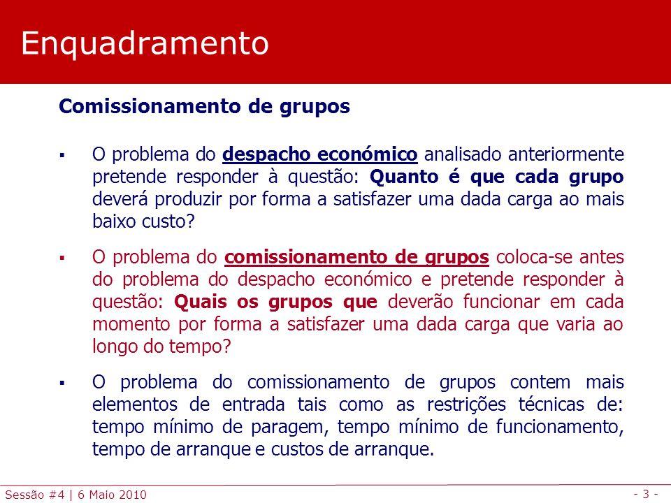 - 3 - Sessão #4 | 6 Maio 2010 Enquadramento Comissionamento de grupos O problema do despacho económico analisado anteriormente pretende responder à qu