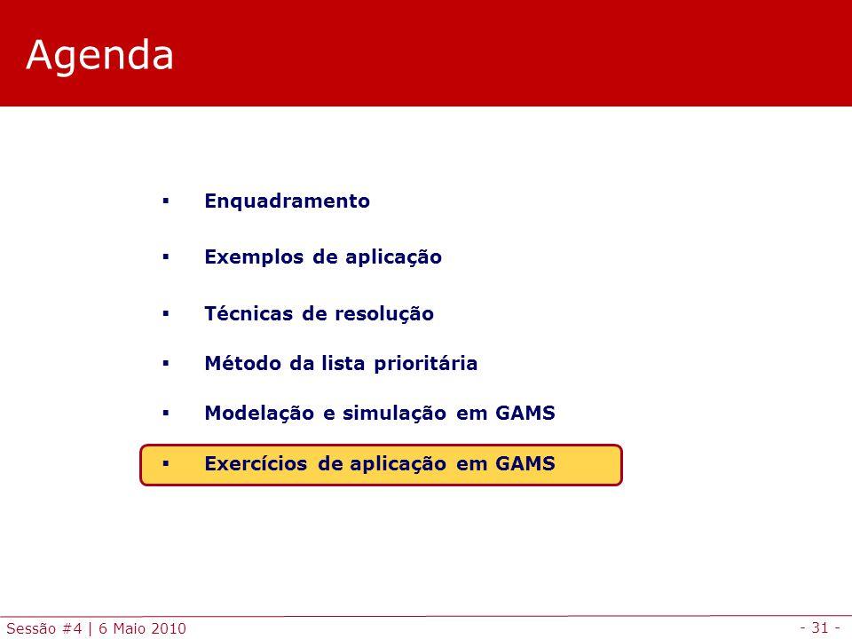 - 31 - Sessão #4 | 6 Maio 2010 Agenda Enquadramento Exemplos de aplicação Técnicas de resolução Método da lista prioritária Modelação e simulação em G