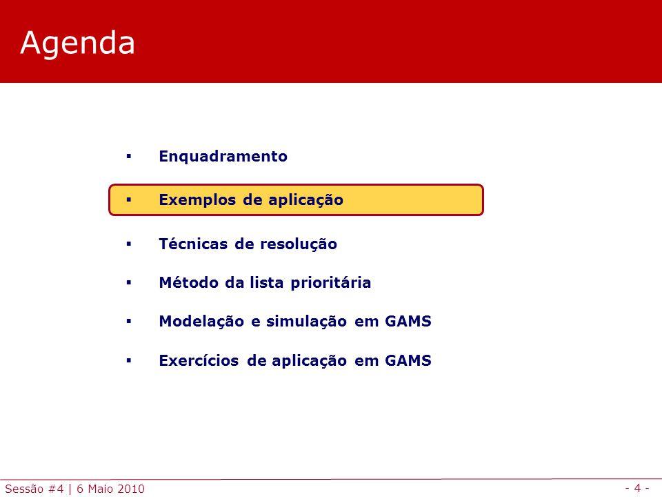 - 4 - Sessão #4 | 6 Maio 2010 Agenda Enquadramento Exemplos de aplicação Técnicas de resolução Método da lista prioritária Modelação e simulação em GA