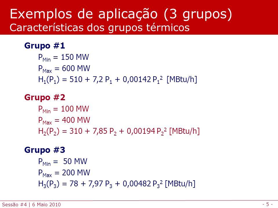 - 26 - Sessão #4   6 Maio 2010 * COMISSIONAMENTO DE GRUPOS termicos de producao de energia * electrica para satisfazer um diagrana de carga com condicao * de reserva girante e com as restricoes impostas pelas condicoes * tecnicas de operacao dos grupos geradores SETS t indice dos periodos de tempo /0*3/ g indice dos grupos geradores /1*4/ TABLE GenDATA(g,*) caracteristicas dos grupos geradores PMIN PMAX GD GS A B CA CP * Pmin Pmax Gradiente Gradiente Custo Custo Custo Custo * descida subida fixo variavel arranque paragem * (MW) (MW) (MW/h) (MW/h) (/h) (/MWh) () () 1 80 400 300 200 7 20 5 0.130 2 80 200 150 100 7 18 3 0.125 3 40 150 100 100 6 5 1 0.150 4 50 500 200 200 6 3 1 0.150 ; Modelação e simulação em GAMS Programação em GAMS (1/5)