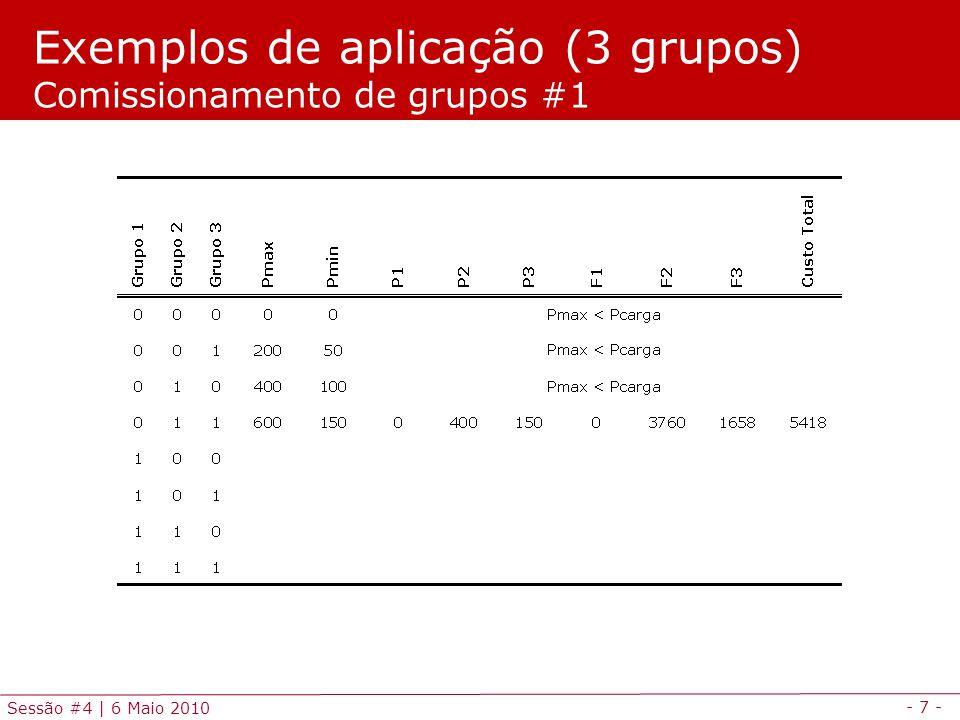 - 28 - Sessão #4   6 Maio 2010 * Variaveis de estado sao modeladas por variaveis binarias BINARY VARIABLES v(g,t),y(g,t),s(g,t); * Inicializacao dos geradores: desligados no periodo inicial v.fx(g, 0 )=0; p.fx(g, 0 )=0; EQUATIONS CUSTO equacao funcao objectivo - custo total de producao PMAXLIM(g,t) equacao de potencia maxima PMINLIM(g,t) equacao de potencia minima BALANCO(t) equacao de balanco producao-carga RESERVA(t) equacao de reserva girante LOGIC(g,t) equacao logica de subida descida e comissionamento SUBIDA(g,t) equacao de maxima rampa de subida DESCIDA(g,t) equacao de maxima rampa de descida ; Modelação e simulação em GAMS Programação em GAMS (3/5)