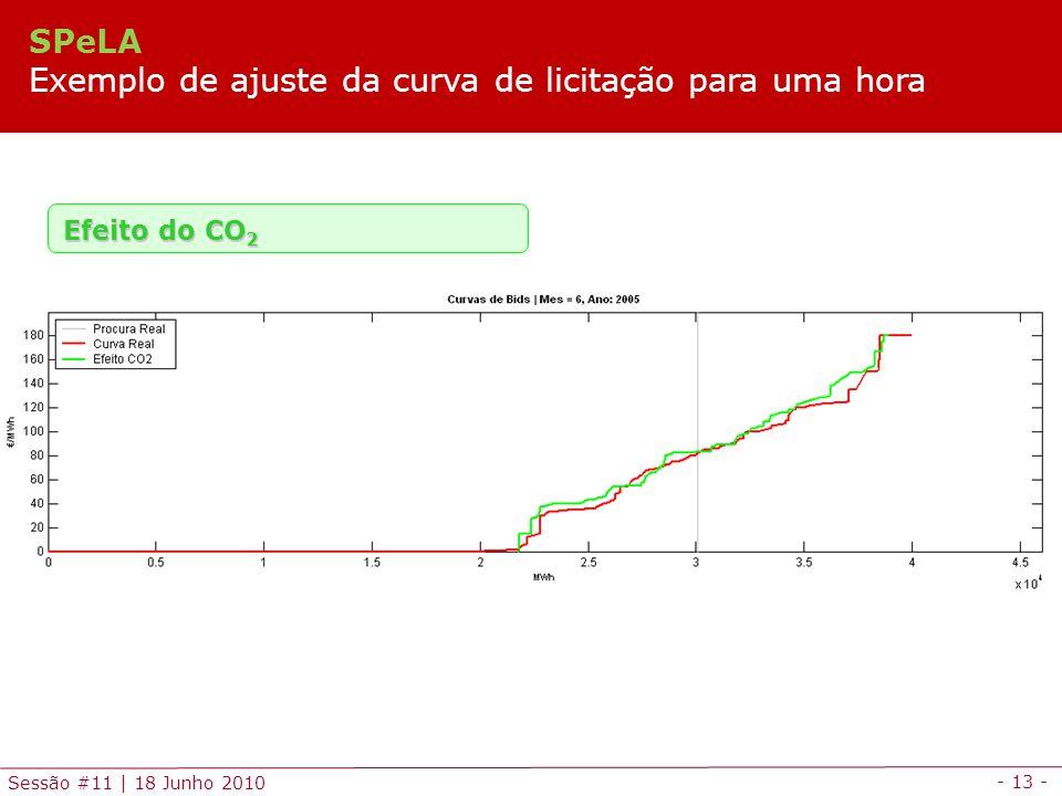 - 13 - Sessão #11 | 18 Junho 2010 Efeito do CO 2 SPeLA Exemplo de ajuste da curva de licitação para uma hora