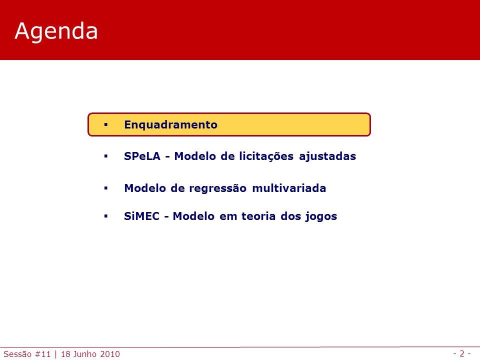- 2 - Sessão #11 | 18 Junho 2010 Agenda Enquadramento SPeLA - Modelo de licitações ajustadas Modelo de regressão multivariada SiMEC - Modelo em teoria dos jogos