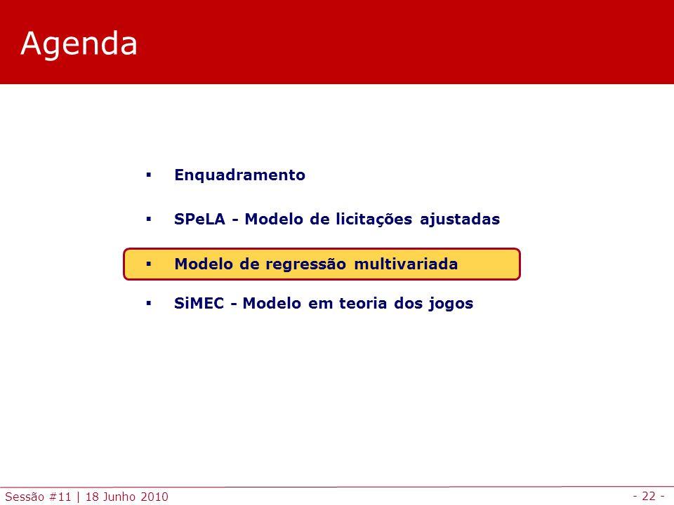 - 22 - Sessão #11 | 18 Junho 2010 Agenda Enquadramento SPeLA - Modelo de licitações ajustadas Modelo de regressão multivariada SiMEC - Modelo em teoria dos jogos