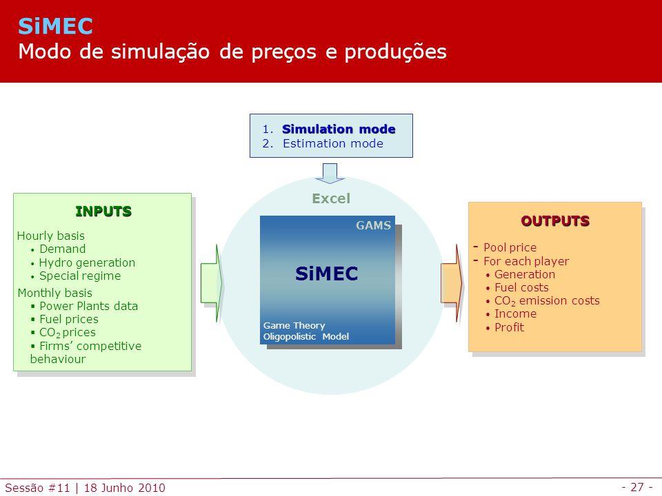 - 27 - Sessão #11 | 18 Junho 2010 Simulation mode 1.