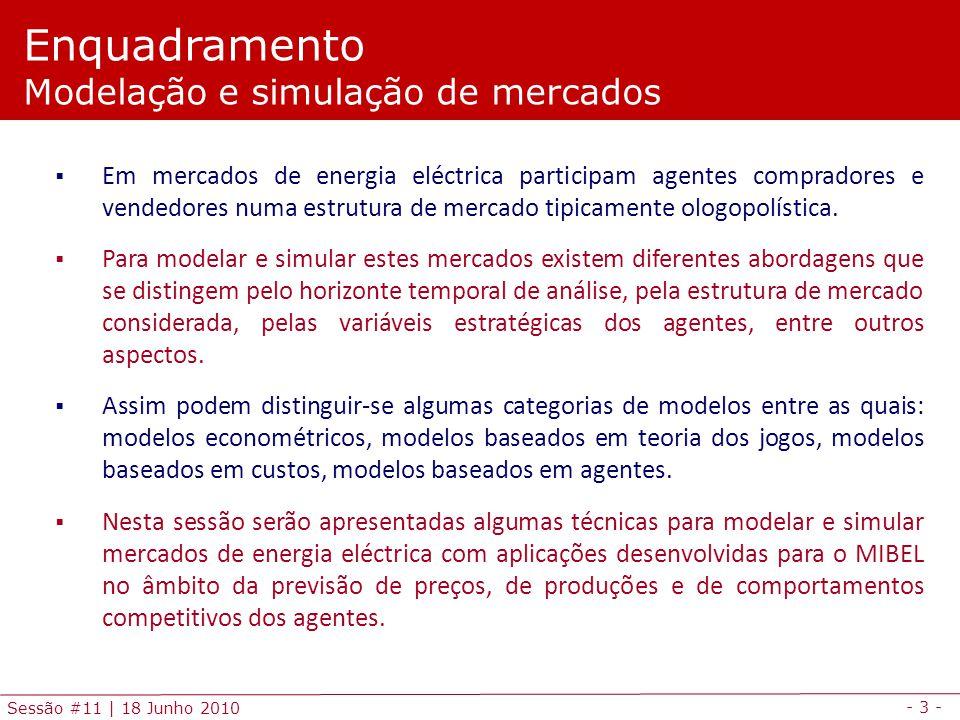 - 3 - Sessão #11 | 18 Junho 2010 Em mercados de energia eléctrica participam agentes compradores e vendedores numa estrutura de mercado tipicamente ologopolística.