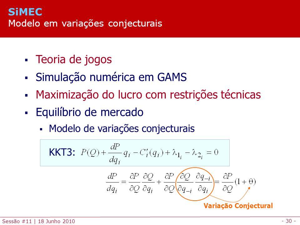 - 30 - Sessão #11 | 18 Junho 2010 Teoria de jogos Simulação numérica em GAMS Maximização do lucro com restrições técnicas Equilíbrio de mercado Modelo de variações conjecturais KKT3: Variação Conjectural SiMEC Modelo em variações conjecturais