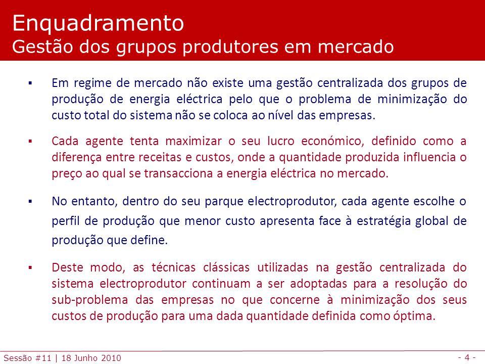 - 4 - Sessão #11 | 18 Junho 2010 Em regime de mercado não existe uma gestão centralizada dos grupos de produção de energia eléctrica pelo que o problema de minimização do custo total do sistema não se coloca ao nível das empresas.