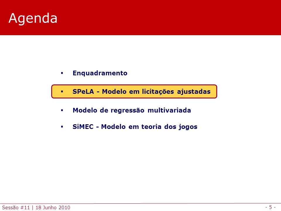 - 5 - Sessão #11 | 18 Junho 2010 Agenda Enquadramento SPeLA - Modelo em licitações ajustadas Modelo de regressão multivariada SiMEC - Modelo em teoria dos jogos