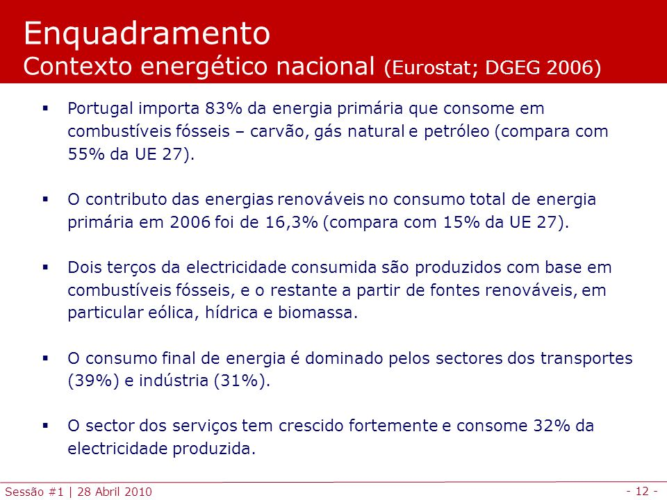 - 12 - Sessão #1 | 28 Abril 2010 Enquadramento Contexto energético nacional (Eurostat; DGEG 2006) Portugal importa 83% da energia primária que consome em combustíveis fósseis – carvão, gás natural e petróleo (compara com 55% da UE 27).