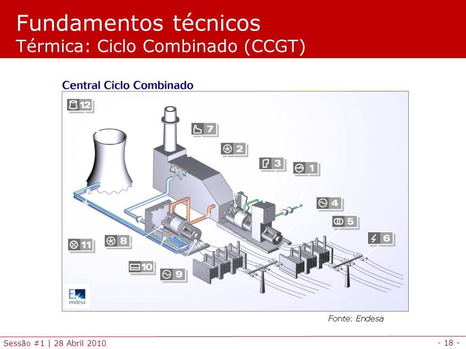 - 18 - Sessão #1 | 28 Abril 2010 Fundamentos técnicos Térmica: Ciclo Combinado (CCGT)