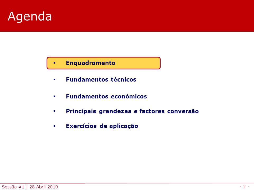 - 2 - Sessão #1 | 28 Abril 2010 Agenda Enquadramento Fundamentos técnicos Fundamentos económicos Principais grandezas e factores conversão Exercícios
