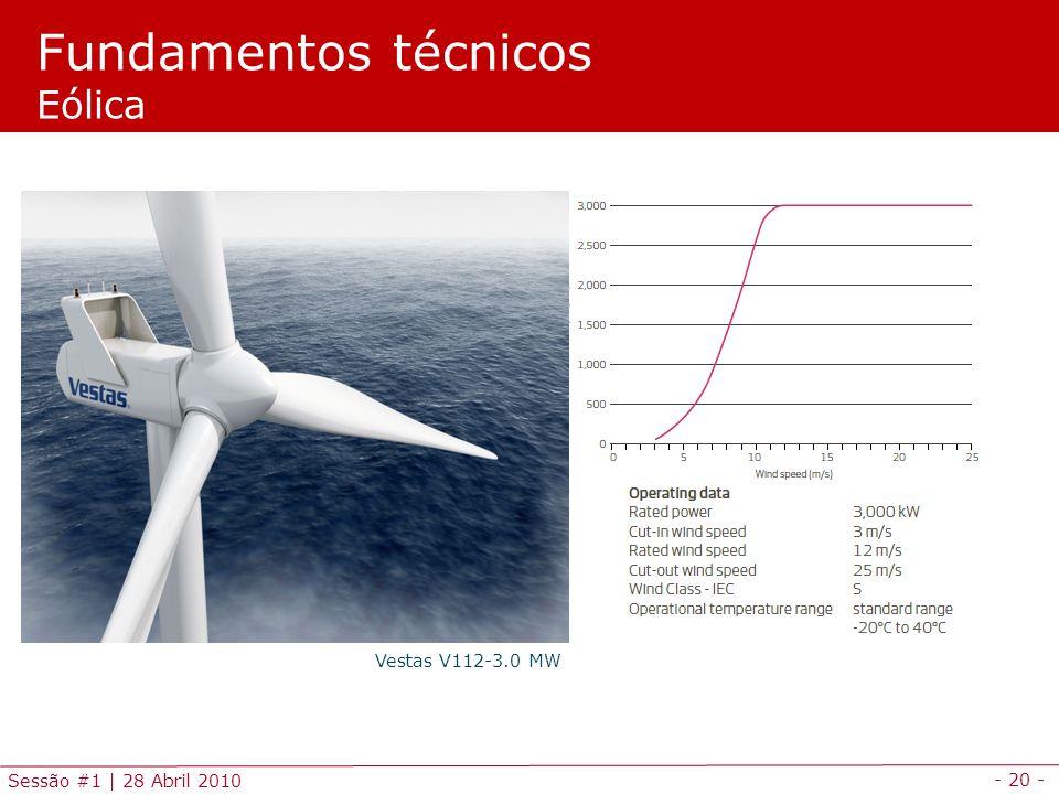 - 20 - Sessão #1 | 28 Abril 2010 Fundamentos técnicos Eólica Vestas V112-3.0 MW