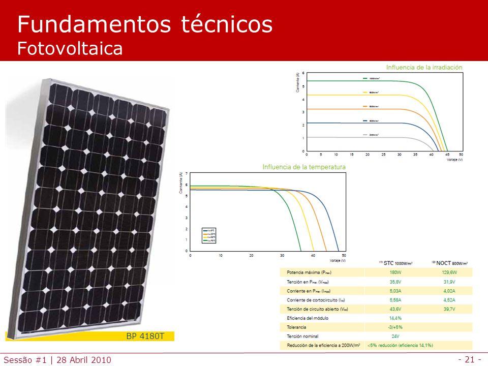 - 21 - Sessão #1 | 28 Abril 2010 Fundamentos técnicos Fotovoltaica BP 4180T