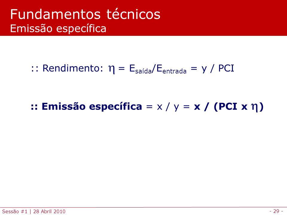 - 29 - Sessão #1 | 28 Abril 2010 :: Rendimento:= E saída /E entrada = y / PCI :: Emissão específica = x / y = x / (PCI x ) Fundamentos técnicos Emissã