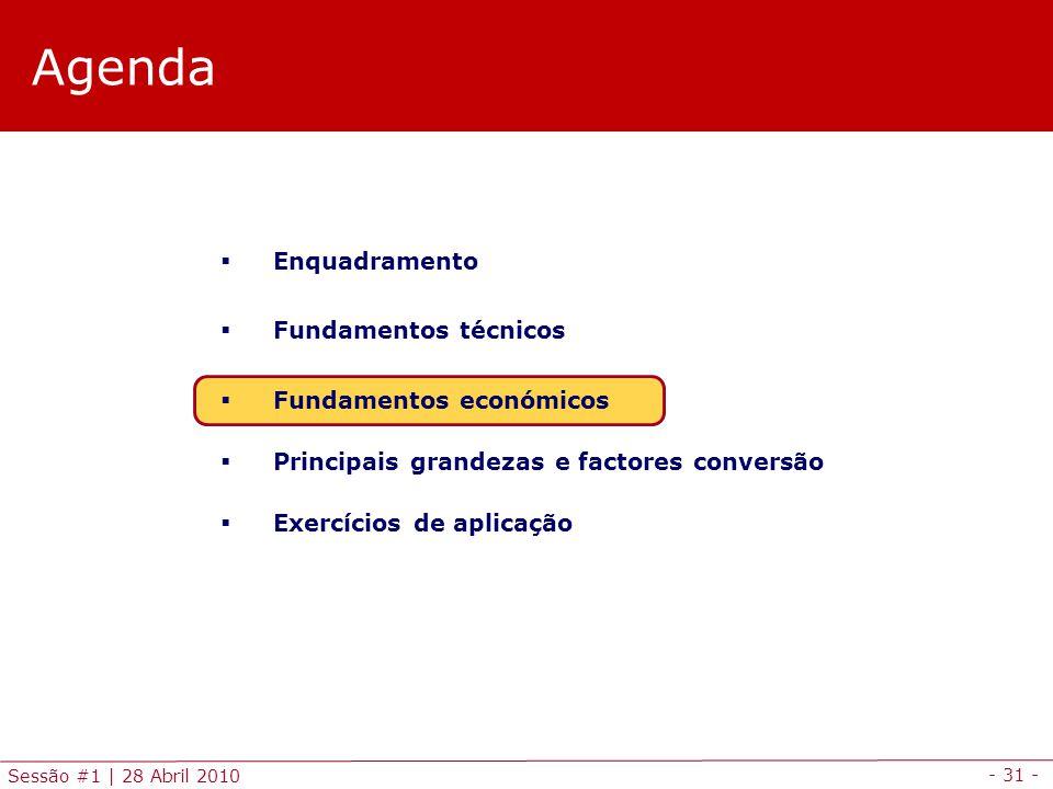 - 31 - Sessão #1 | 28 Abril 2010 Agenda Enquadramento Fundamentos técnicos Fundamentos económicos Principais grandezas e factores conversão Exercícios
