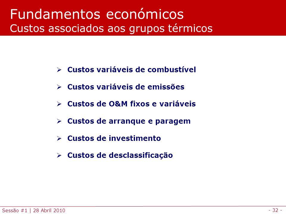 - 32 - Sessão #1 | 28 Abril 2010 Fundamentos económicos Custos associados aos grupos térmicos Custos variáveis de combustível Custos variáveis de emis
