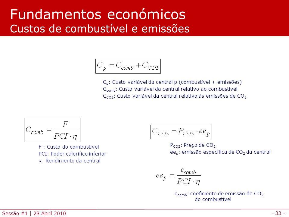 - 33 - Sessão #1 | 28 Abril 2010 Fundamentos económicos Custos de combustível e emissões F : Custo do combustível PCI: Poder calorífico inferior : Rendimento da central C p : Custo variável da central p (combustível + emissões) C comb : Custo variável da central relativo ao combustível C CO2 : Custo variável da central relativo às emissões de CO 2 e comb : coeficiente de emissão de CO 2 do combustível P CO2 : Preço de CO 2 ee p : emissão específica de CO 2 da central