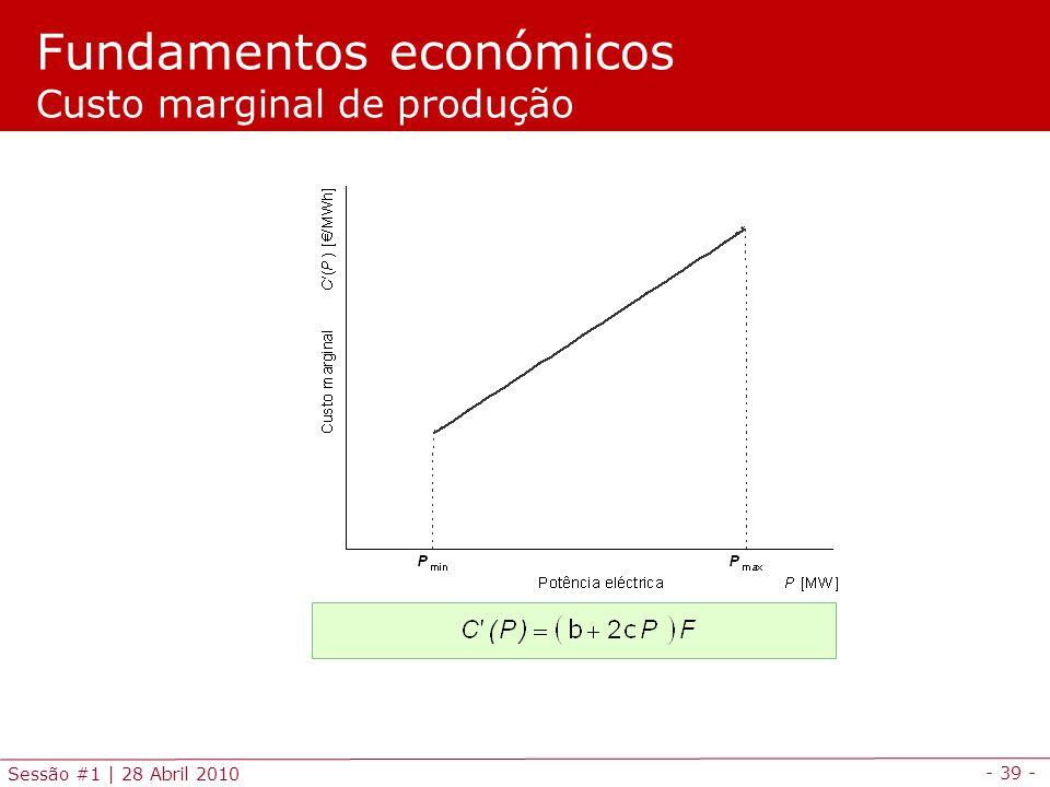 - 39 - Sessão #1 | 28 Abril 2010 Fundamentos económicos Custo marginal de produção
