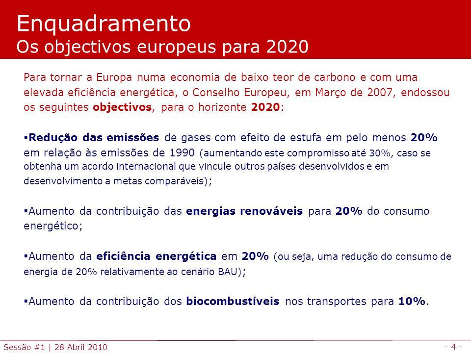 - 4 - Sessão #1 | 28 Abril 2010 Enquadramento Os objectivos europeus para 2020 Para tornar a Europa numa economia de baixo teor de carbono e com uma elevada eficiência energética, o Conselho Europeu, em Março de 2007, endossou os seguintes objectivos, para o horizonte 2020: Redução das emissões de gases com efeito de estufa em pelo menos 20% em relação às emissões de 1990 (aumentando este compromisso até 30%, caso se obtenha um acordo internacional que vincule outros países desenvolvidos e em desenvolvimento a metas comparáveis) ; Aumento da contribuição das energias renováveis para 20% do consumo energético; Aumento da eficiência energética em 20% (ou seja, uma redução do consumo de energia de 20% relativamente ao cenário BAU) ; Aumento da contribuição dos biocombustíveis nos transportes para 10%.
