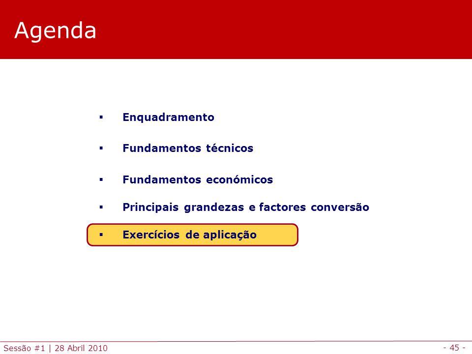 - 45 - Sessão #1 | 28 Abril 2010 Agenda Enquadramento Fundamentos técnicos Fundamentos económicos Principais grandezas e factores conversão Exercícios