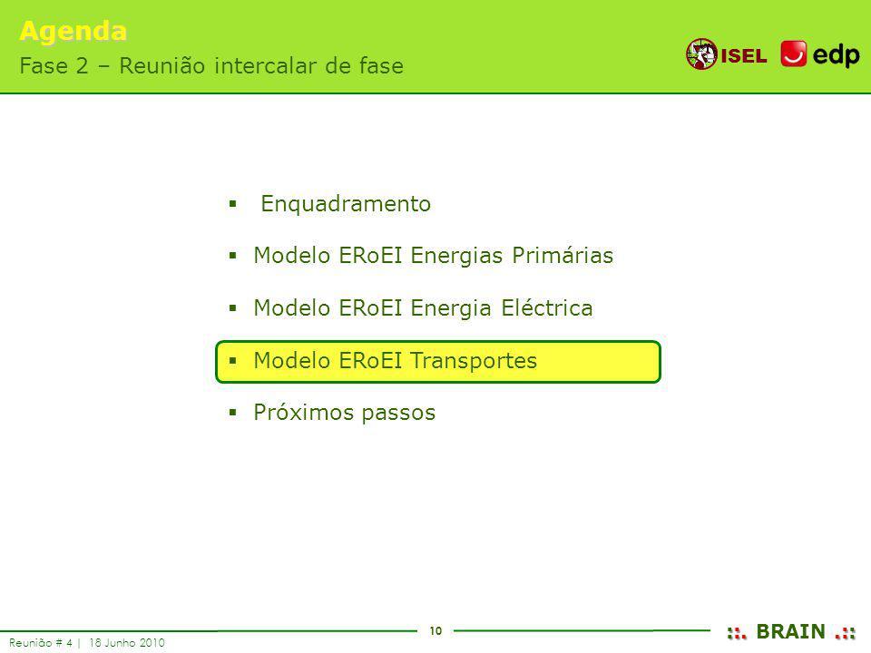 10 ISEL ::..:: ::. BRAIN.:: Reunião # 4 | 18 Junho 2010 Enquadramento Modelo ERoEI Energias Primárias Modelo ERoEI Energia Eléctrica Modelo ERoEI Tran