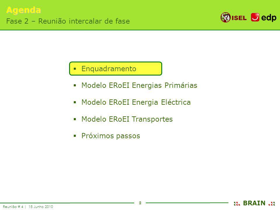 2 ISEL ::..:: ::. BRAIN.:: Reunião # 4 | 18 Junho 2010 Enquadramento Modelo ERoEI Energias Primárias Modelo ERoEI Energia Eléctrica Modelo ERoEI Trans