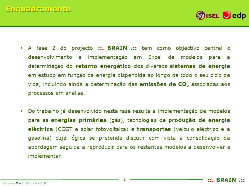 3 ISEL ::..:: ::. BRAIN.:: Reunião # 4 | 18 Junho 2010 Enquadramento ::..:: A fase 2 do projecto ::. BRAIN.:: tem como objectivo central o desenvolvim