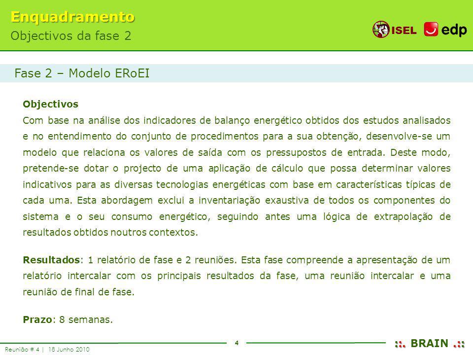 4 ISEL ::..:: ::. BRAIN.:: Reunião # 4 | 18 Junho 2010 Objectivos Com base na análise dos indicadores de balanço energético obtidos dos estudos analis
