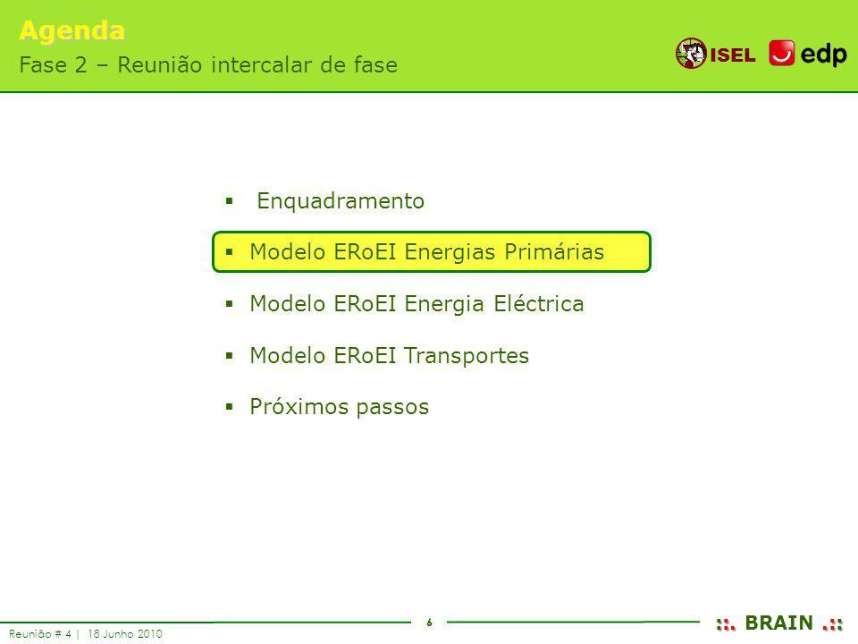 6 ISEL ::..:: ::. BRAIN.:: Reunião # 4 | 18 Junho 2010 Enquadramento Modelo ERoEI Energias Primárias Modelo ERoEI Energia Eléctrica Modelo ERoEI Trans