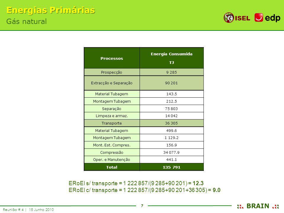 7 ISEL ::..:: ::. BRAIN.:: Reunião # 4 | 18 Junho 2010 Energias Primárias Gás natural Processos Energia Consumida TJ Prospecção9 285 Extracção e Separ