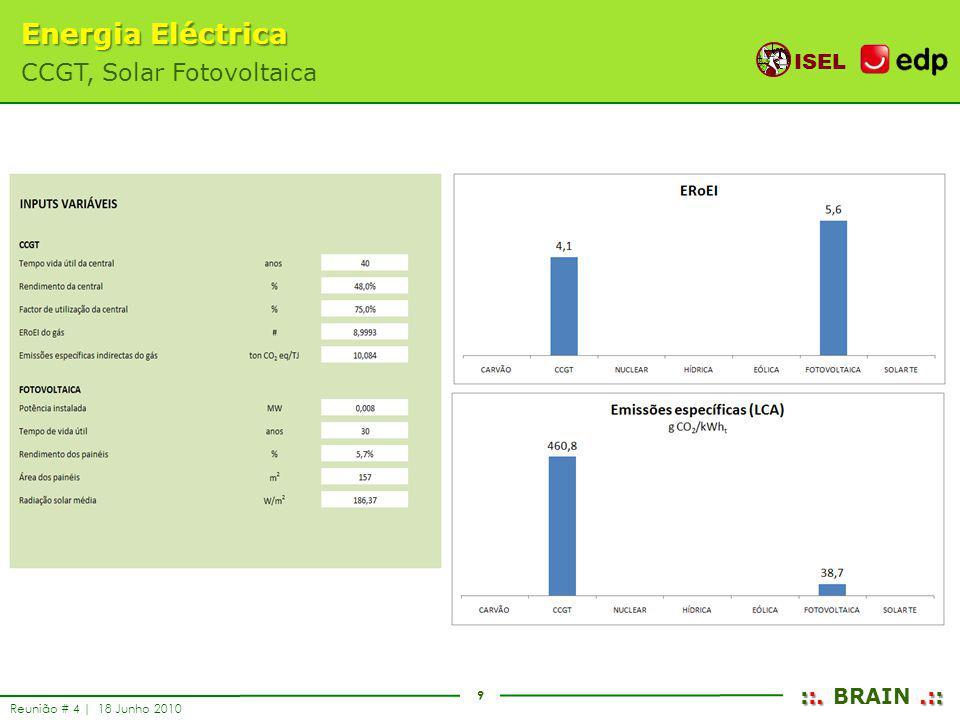 9 ISEL ::..:: ::. BRAIN.:: Reunião # 4 | 18 Junho 2010 Energia Eléctrica CCGT, Solar Fotovoltaica